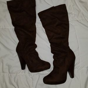 Shoes - Brown suede knee high boots